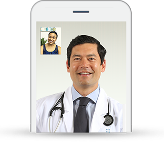 Image of a cell phone depicting conversation with a healthcare provider.