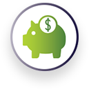 Icon of a piggy bank depicting savings.